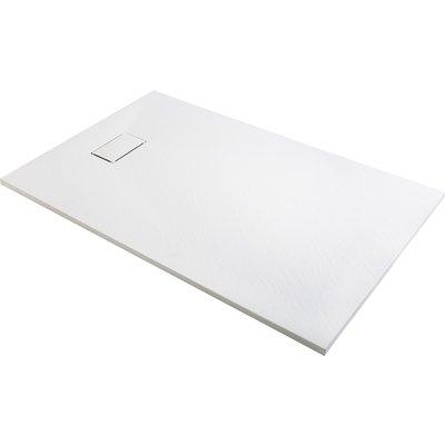 Receveur de douche extra-plat blanc effet pierre Gaïa