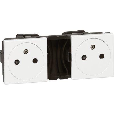 Double prise de courant 2P+T Mosaic Legrand - Surface - Précâblée - 2x2 mod