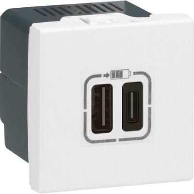 Chargeur USB Mosaic Legrand - 2 ports USB - Type-C - 3 A - 15 W - Blanc
