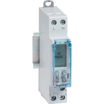 Interrupteur horaire digital modulaire programmable - Gris - 1 sortie