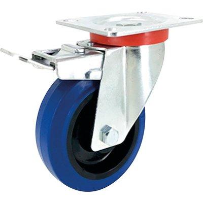 Roulette caoutchouc Tecnibleu série S2NS - Platine pivotante à frein