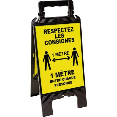 Chevalet noir et jaune - Respectez les consignes de sécurité