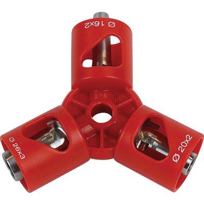 Outil de calibrage triple 16 20 26 mm et chanfrein pour tube multicouche