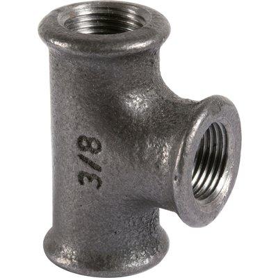 Raccord té égal - Fonte noire - Femelle / Femelle - 130