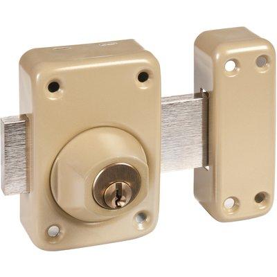 Verrou à cylindre double V136 système V5 - Verni bronze - Cylindre 45 mm