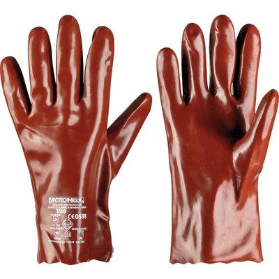 Gants de protection - Protection chimique - PVC - Rouge - Longueur 270 mm