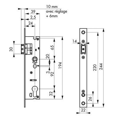 Serrure à larder métal 1/2 tour - Thirard - Entraxe 92 mm