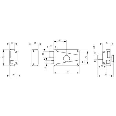 Serrure applique horizontale - THIRARD - Longueur 45 mm