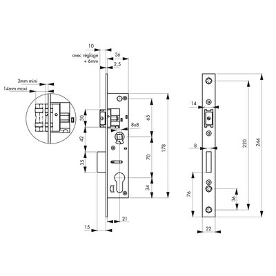 Boitier Serrure Larder Metal Interchangeable 1/2 tour - THIRARD - Entraxe 7