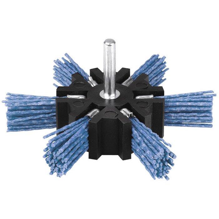 Brosse abrasive éventail - Nylon - Bleu-1