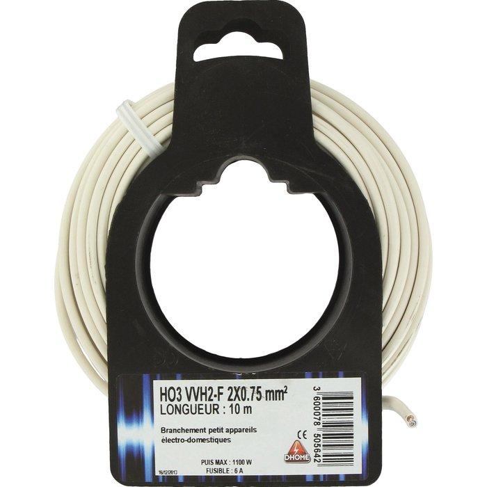 Câble H03 VVH 2-F Ovoide 2 x 0,75 mm²