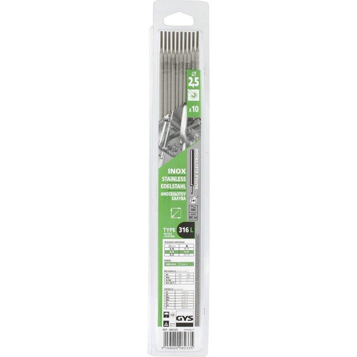 Électrode inox - Pour soudure à l'arc - Boîte de 10 pièces