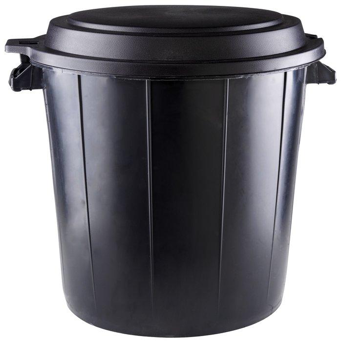 Poubelle d'extérieur - Noir - Capacité 80 l-1
