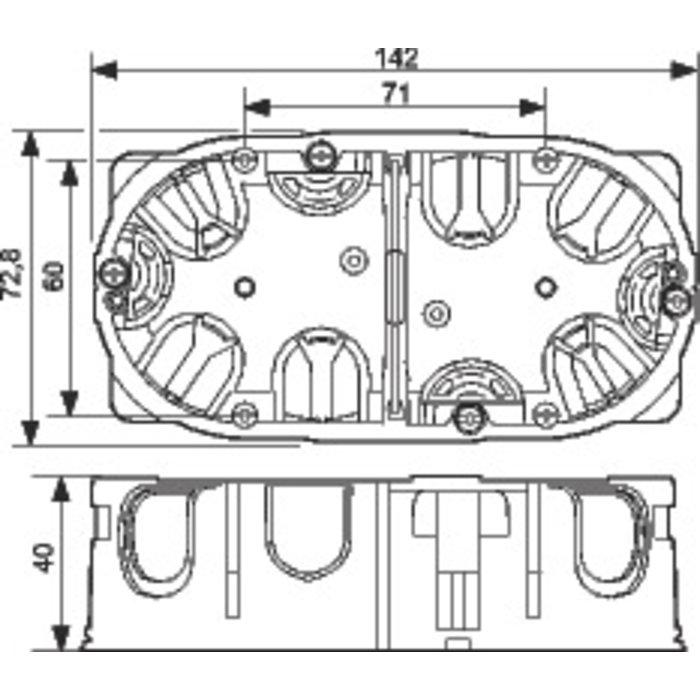 Boîte d'encastrement Batibox Energy - 2 postes - Profondeur 40 mm-1