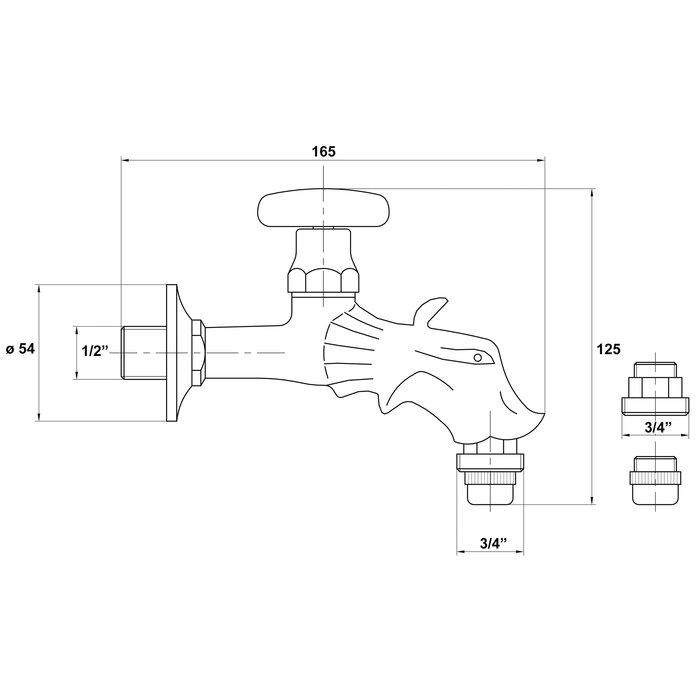 Robinet antique pour fontaine - Laiton poli-1
