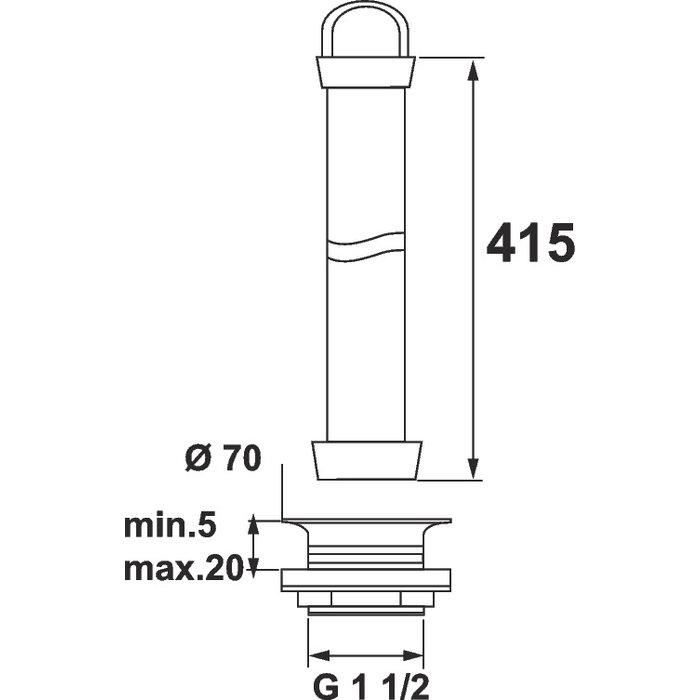 Bonde surverse pour évier - Garde d'eau 400 mm-1