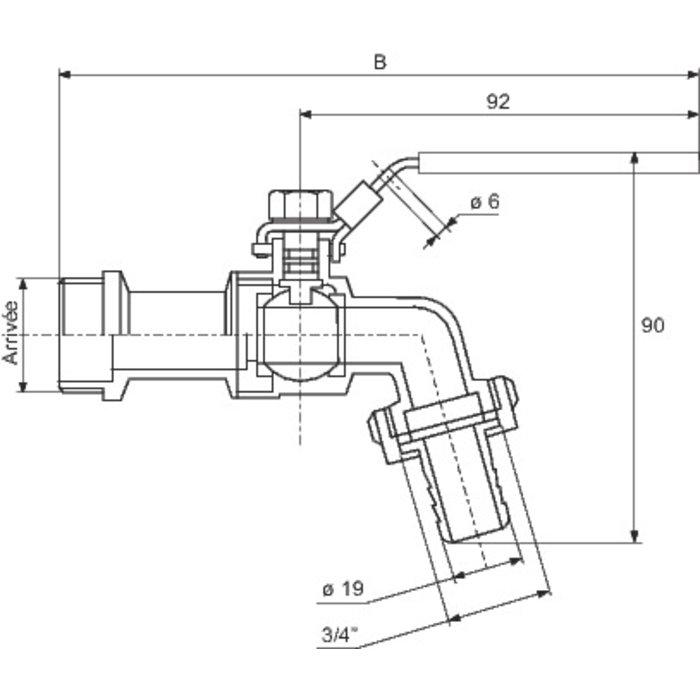 Robinet de puisage cadenassable - Inox-1