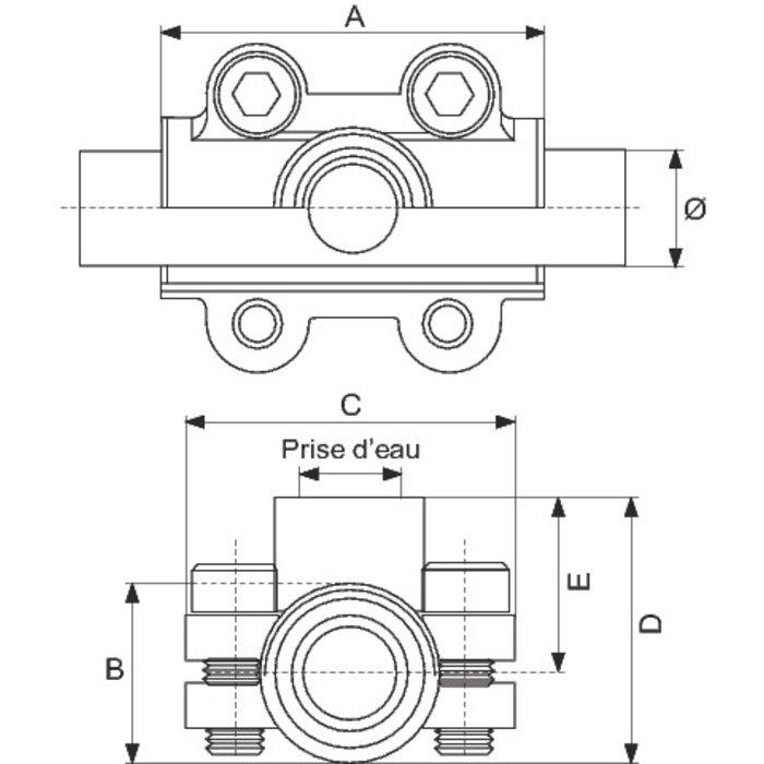 Collier de dérivation en fonte malléable - Pour tube acier-1