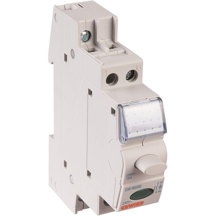 Bouton-poussoir avec voyant lumineux - 1 module - Intensité 16 A