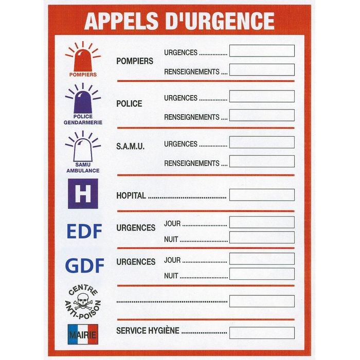 Panneau signalétique d'appels d'urgence-1