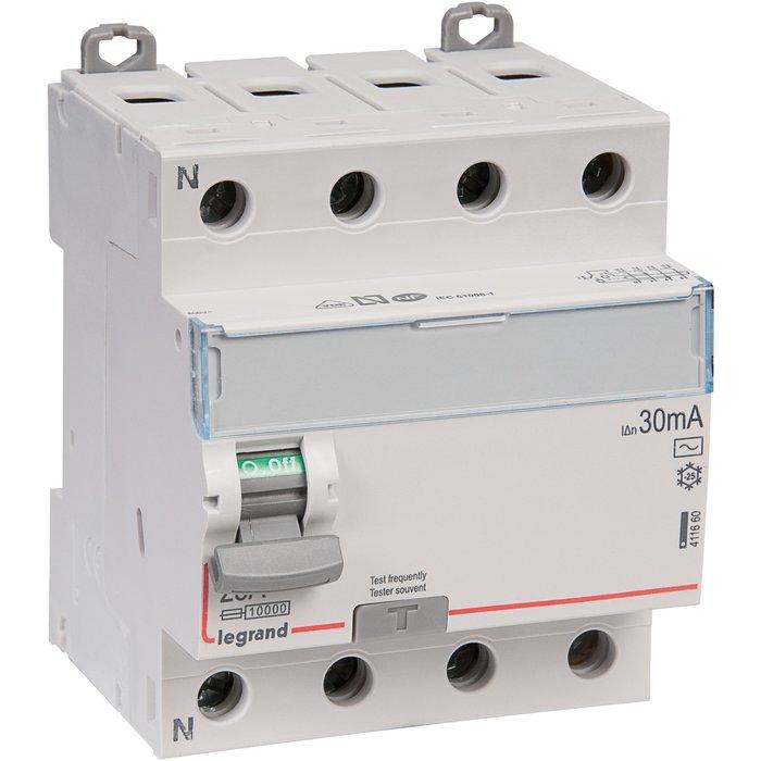 Interrupteur différentiel DX³-ID - Tétrapolaire - Protection des départs - Arrivée haut / Départ bas