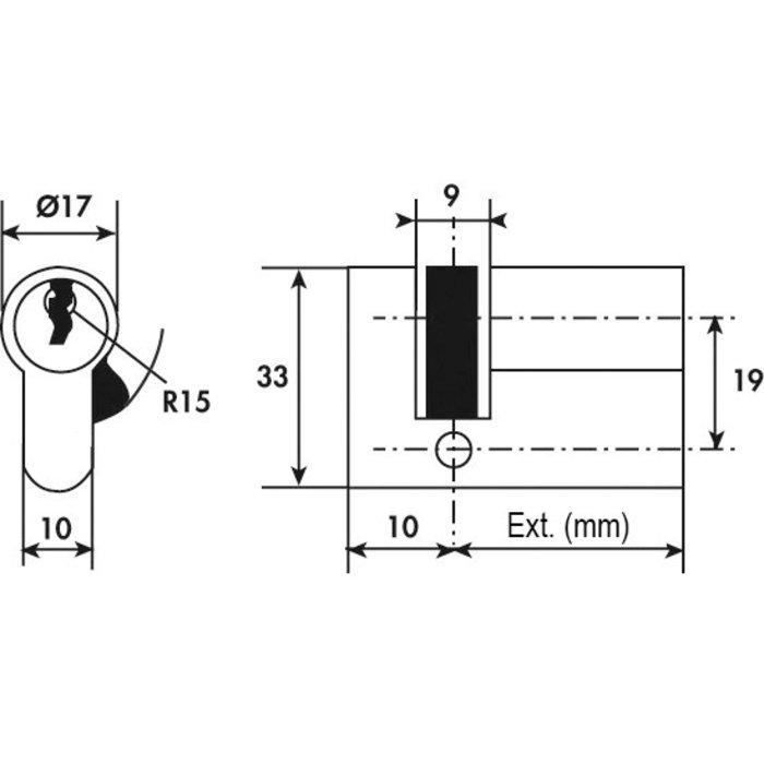 Demi-cylindre à panneton V5 - Réglable - Laiton - Longueur 40 mm-1