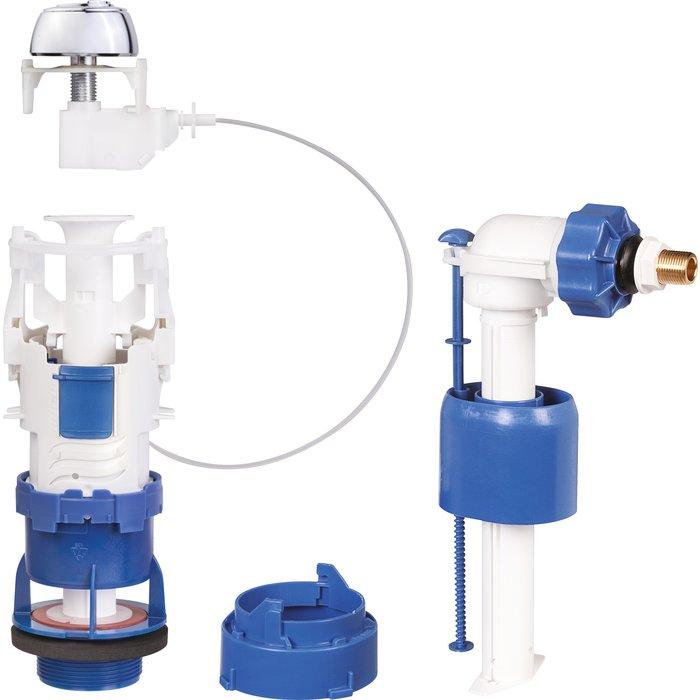 Kit rénovation de mécanisme de WC Clip'Easy - Double débit - À câble