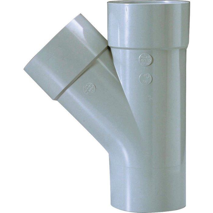 Culotte d'évacuation à 45° - PVC - Double emboîture - Mâle / Femelle