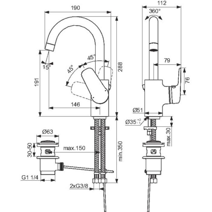 Mitigeur lavabo Okyris - Bec tube-1