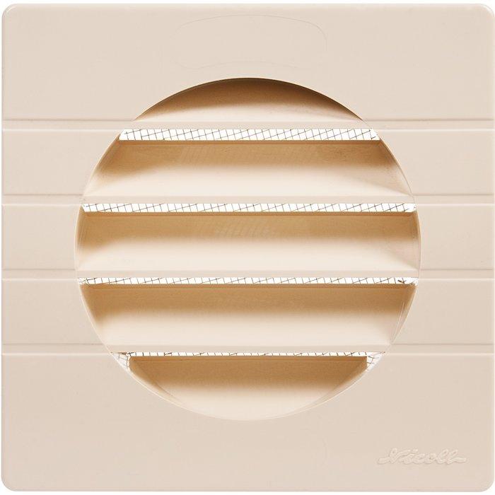 Grille d'aération carrée avec moustiquaire - Spéciale façade - Plastique