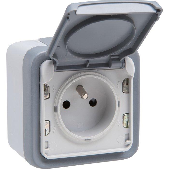 Prise Plexo - Bornes automatiques - Appareillage complet - Gris