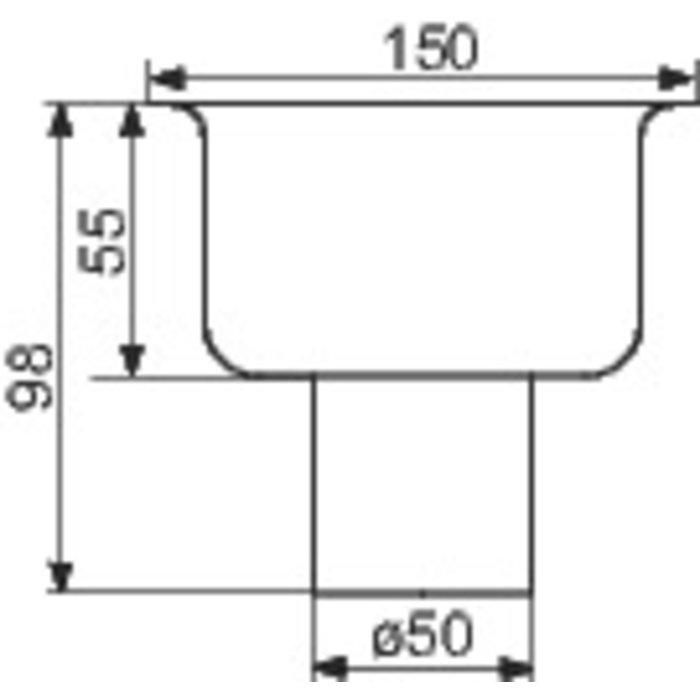 Siphon de sol inox - Longueur 150 mm - Largeur 150 mm - Spécial collectivité-1