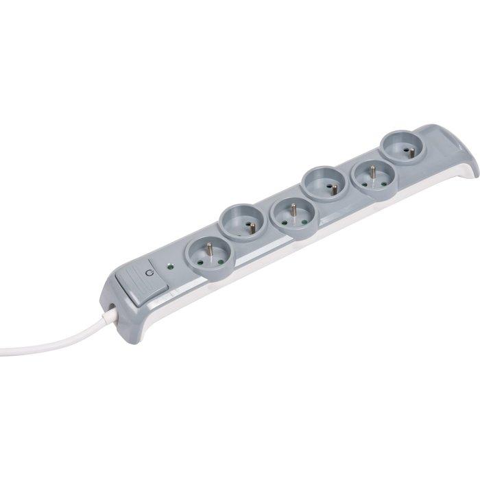 Bloc multiprise - 6 prises 2P+T - Parafoudre - Avec interrupteur - Cordon 3G1 mm²