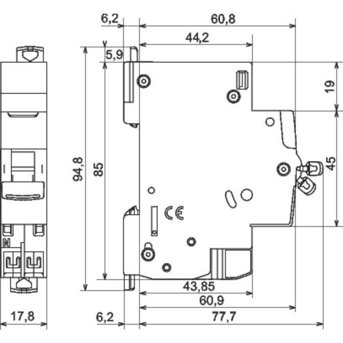 Disjoncteur DNX³ - 4,5 kA - Courbe C et D - Protection des départs - 1 module-1