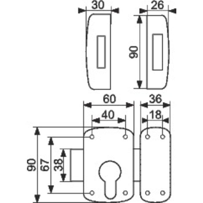 Verrou à cylindre Européen Corvette - Époxy bronze-1