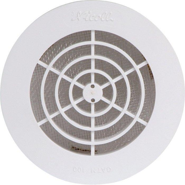 Grille d'aération d'extérieur ronde - Plastique - Blanc