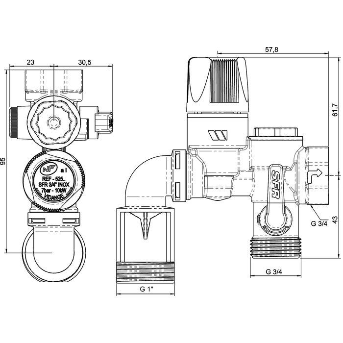 Groupe de sécurité - Modèle coudé - Coude de vidange orientable-1