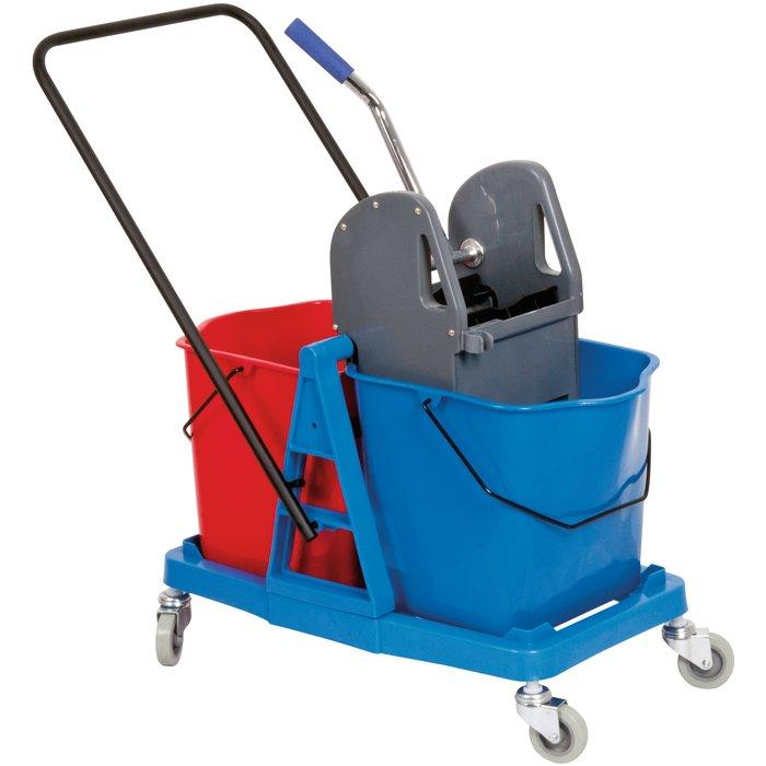 Chariot de ménage avec presse - 2 seaux - Capacité 25 l-1