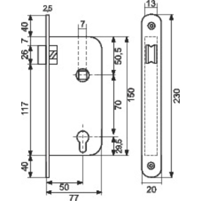 Serrure de sûreté à larder T4137 - Inox - Axe 50 mm-1