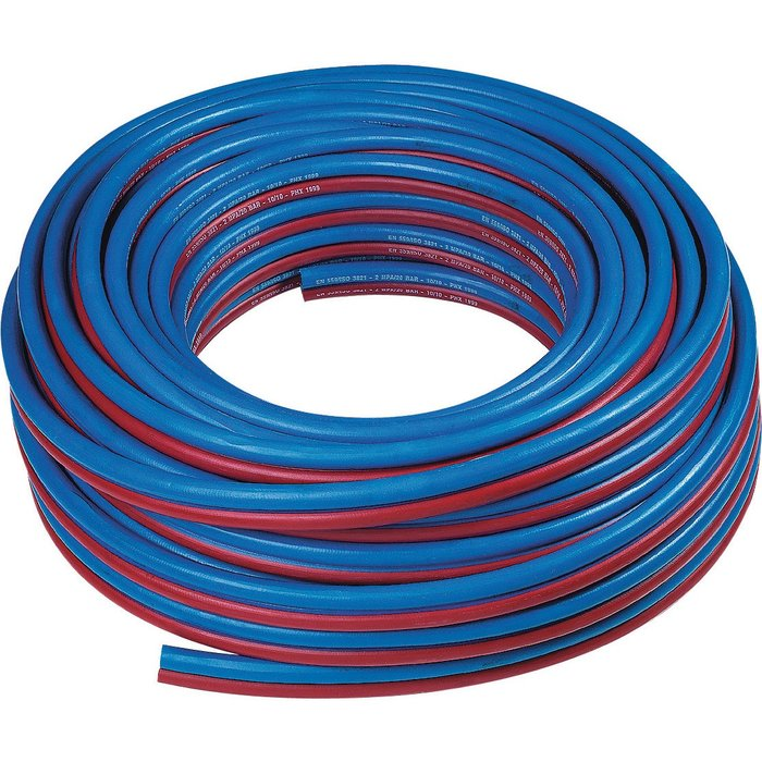 Tuyau caoutchouc - Bleu - Rouge - Raccordement oxygène-acétylène