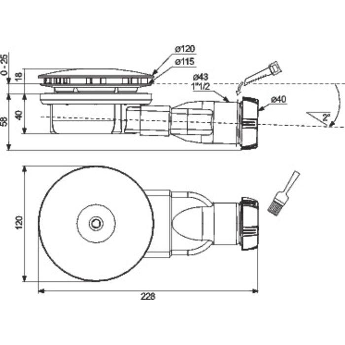 Bonde de douche horizontale - Pour receveur diamètre 90 mm - Extra-plate-1