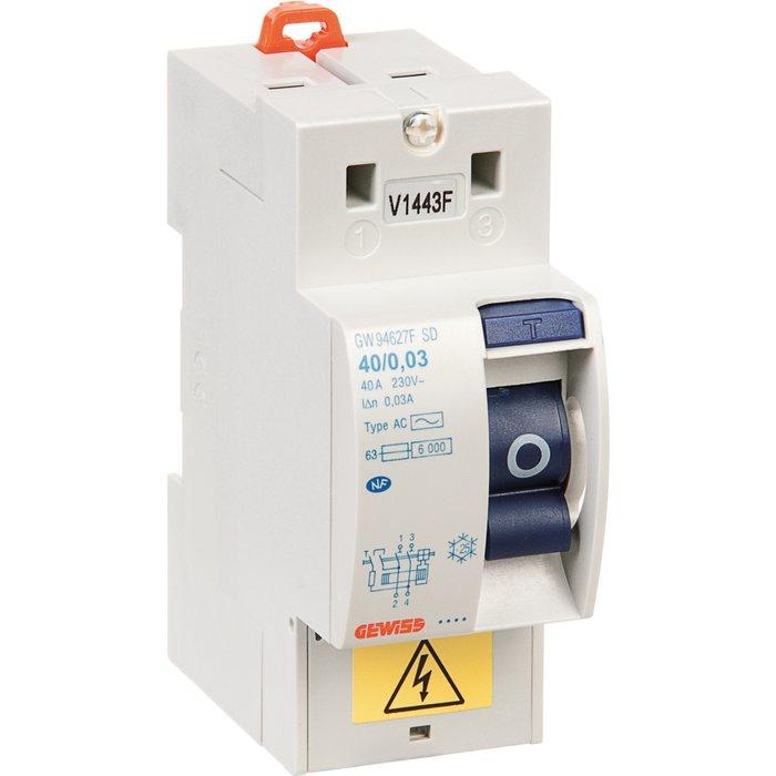 Interrupteur différentiel 2P Fixmatic - Sensibilité 30mA - Protection des départs - 2 modules