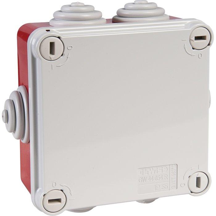 Boîte de dérivation carrée IP55 - Avec passe-fils - Couvercle bas et vis quart de tour