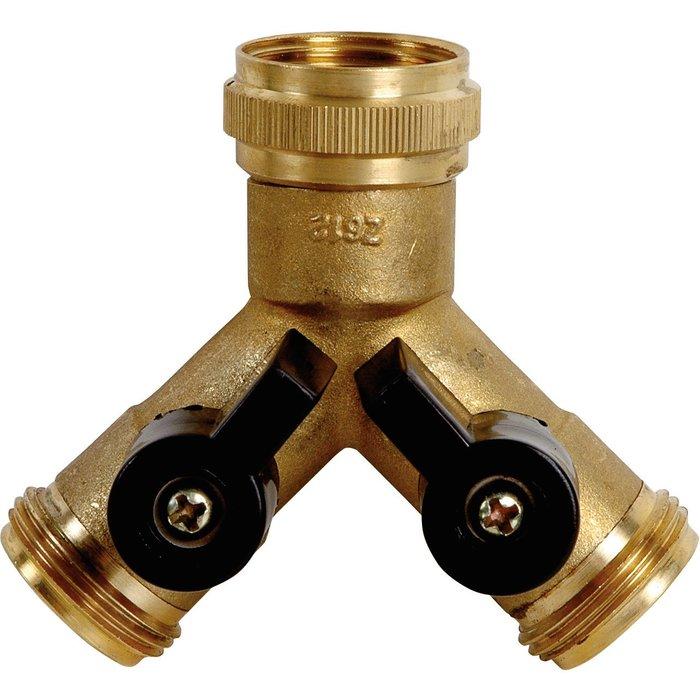 Raccord d'arrosage Y fileté - Laiton - Avec 2 robinets d'arrêt-1