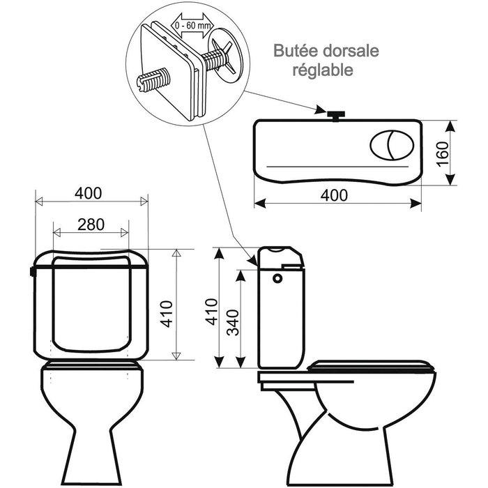 Réservoir WC attenant - Double débit-1