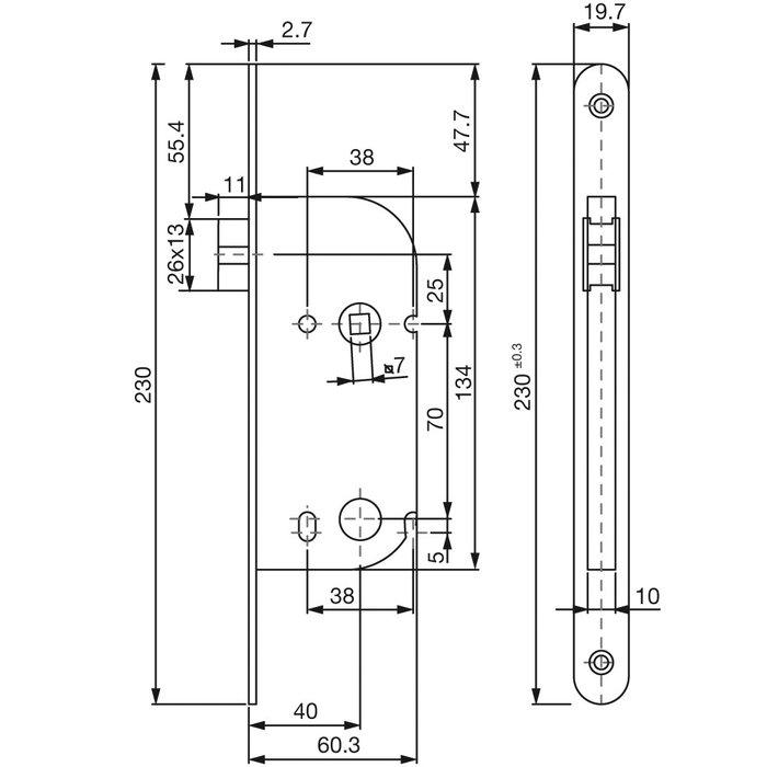 Serrure à larder D20 - Bouts ronds - Axe 40 mm-1