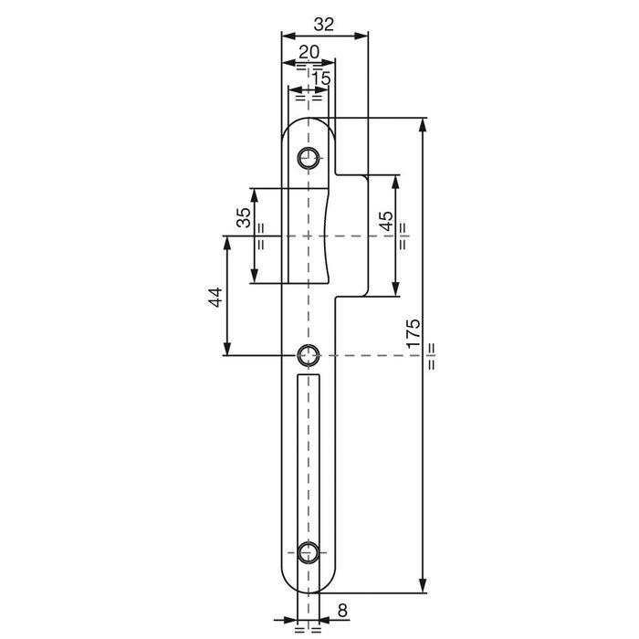 Gâche pour serrure à larder D20 - Plate - Acier brut-1