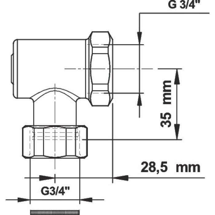 Robinet d'arrêt équerre pour P1000-2