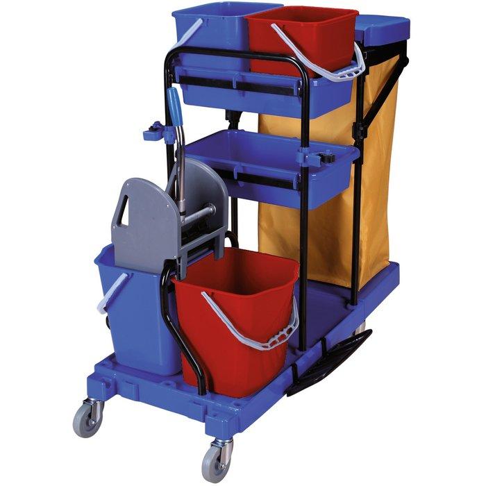 Chariot de ménage avec presse - 4 seaux - Capacité 2 x 15 l et 2 x 6 l-2