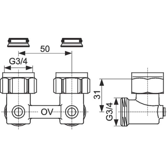 Raccord d'arrêt de radiateur ZB Multiflex - Équerre-1